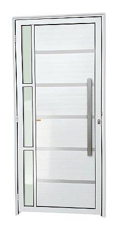 Porta Lambril Miraggio c/ Puxador Milão Escovado c/ Fechadura Rolete em Alumínio Branco c/ Vidro Temperado - Brimak Super 25