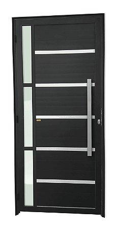 Porta Lambril Miraggio c/ Puxador Milão Escovado c/ Fechadura Rolete em Alumínio Preto c/ Vidro Temperado - Brimak Super 25