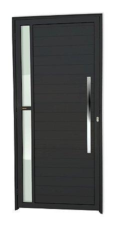 Porta Lambril Visione c/ Puxador Milão Polido c/ Fechadura Rolete em Alumínio Preto c/ Vidro Temperado - Brimak Super 25