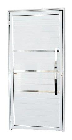 Porta Lambril Evolution c/ Puxador Dubai Polido c/ Fechadura Rolete em Alumínio Branco - Brimak Super 25