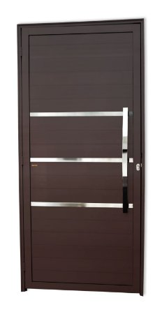 Porta Lambril Evolution c/ Puxador Dubai Polido c/ Fechadura Rolete em Alumínio Corten - Brimak Super 25