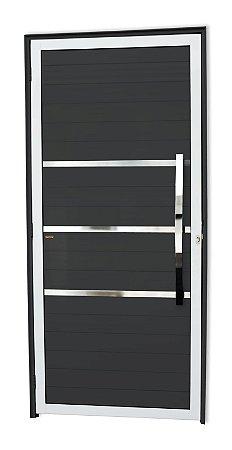Porta Lambril Evolution c/ Puxador Dubai Polido c/ Fechadura Rolete em Alumínio Mix Preto - Brimak Super 25