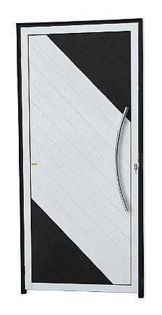 Porta Lambril Savana c/ Puxador Athenas Polido c/ Fechadura Rolete em Alumínio Mix Preto - Brimak Super 25