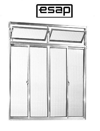 Janela de Correr em Alumínio Brilhante 4 Folhas Com Bandeira Vidro Canelado - Linha Modular Esap