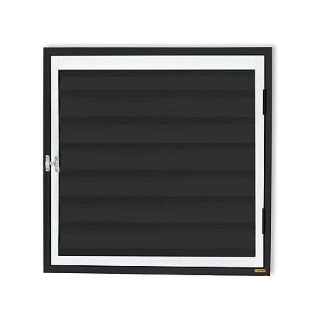 Porta Abrigo D'Água / Gás 1 Folha c/ Ventilação em Alumínio Mix Preto - Brimak Plus