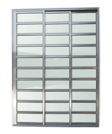 Porta de Correr 3 Folhas (1 Fixa) Travessa c/ Fechadura em Alumínio brilhante c/ Vidro Liso - Brimak Super 25
