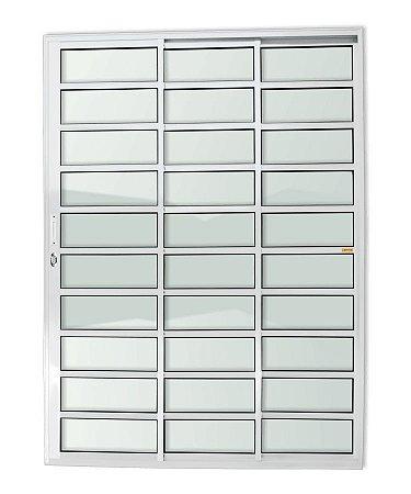Porta de Correr 3 Folhas (1 Fixa) Travessa c/ Fechadura em Alumínio Branco c/ Vidro Liso - Brimak Super 25