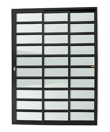 Porta de Correr 3 Folhas (1 Fixa) Travessa c/ Fechadura em Alumínio Preto c/ Vidro Liso - Brimak Super 25