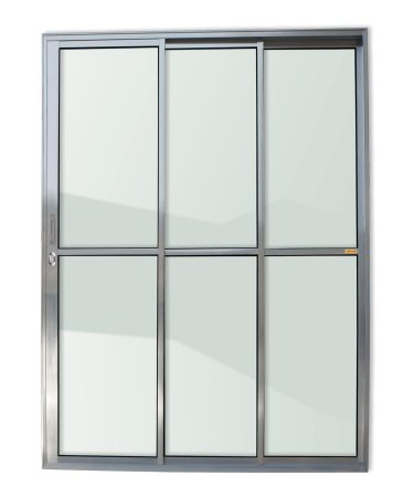 Porta de Correr 3 Folhas (1 Fixa) c/ Fechadura em Alumínio Brilhante c/ Vidro Liso - Brimak Super 25
