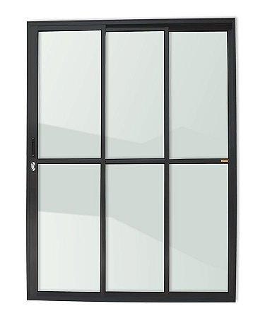Porta de Correr 3 Folhas (1 Fixa) c/ Fechadura em Alumínio Preto c/ Vidro Liso - Brimak Super 25
