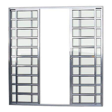 Porta de Correr 4 Folhas Travessa c/ Fechadura em Alumínio Brilhante c/ Vidro Liso - Brimak Super 25