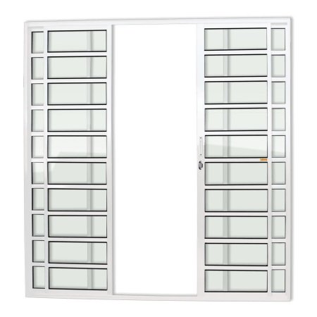 Porta de Correr 4 Folhas Travessa c/ Fechadura em Alumínio Branco c/ Vidro Liso - Brimak Super 25