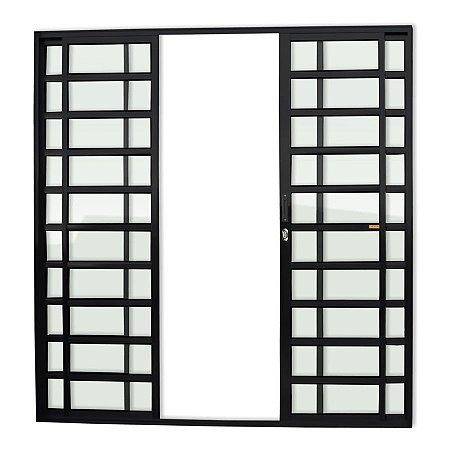 Porta de Correr 4 Folhas Travessa c/ Fechadura em Alumínio Preto c/ Vidro Liso - Brimak Super 25