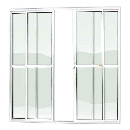 Porta de Correr 4 Folhas c/ Fechadura em Alumínio Branco c/ Vidro Liso - Brimak Super 25