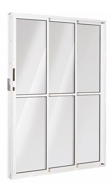 Porta de Correr em Alumínio Branco 3 Folhas de Vidro com Fechadura - Linha Top Esquadrisul