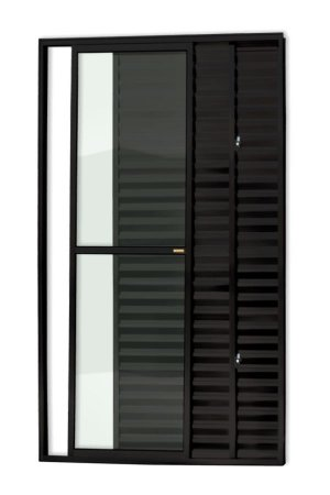Porta Balcão 3 Folhas (1 Fixa) c/ Trinco em Alumínio Preto c/ Vidro Liso - Brimak Super 25