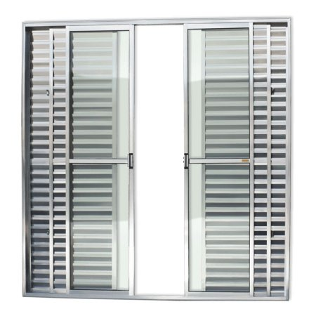 Porta Balcão 6 Folhas c/ Trinco em Alumínio Brilhante c/ Vidro Liso - Brimak Super 25