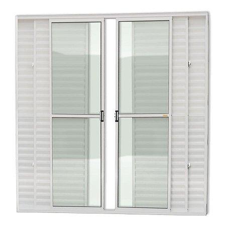 Porta Balcão 6 Folhas c/ Trinco em Alumínio Branco c/ Vidro Liso - Brimak Super 25