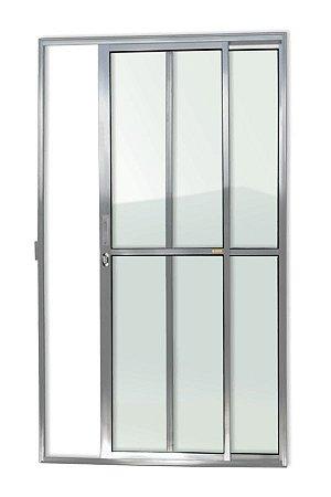 Porta de Correr 2 Folhas (1 Fixa) c/ Fechadura em Alumínio Brilhante c/ Vidro Liso - Brimak Super 25