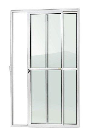Porta de Correr 2 Folhas (1 Fixa) c/ Fechadura em Alumínio Branco c/ Vidro Liso - Brimak Super 25