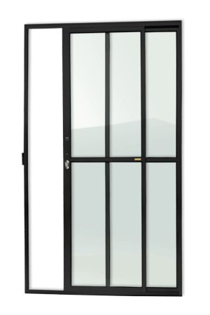 Porta de Correr 2 Folhas (1 Fixa) c/ Fechadura em Alumínio Preto c/ Vidro Liso - Brimak Super 25