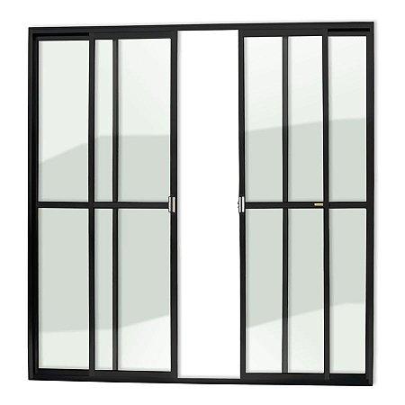 Porta de Correr 4 Folhas c/ Trinco em Alumínio Preto c/ Vidro Liso - Brimak Super 25