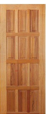 Folha de Porta de Abrir (Giro) em Madeira Tauarí Maciça 12 Almofadas - Mapaf