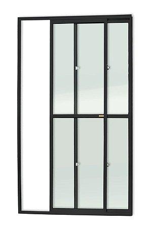 Porta de Correr 2 Folhas (1 Fixa) c/ Trinco em Alumínio Preto c/ Vidro Liso - Brimak Super 25