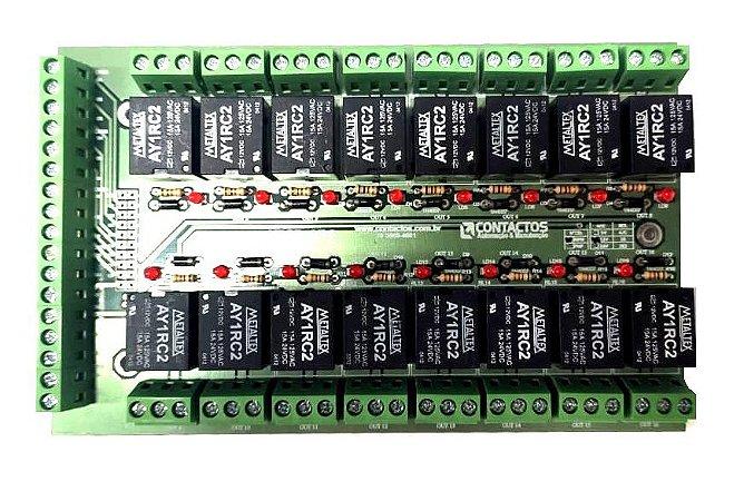 Placa Interface Rele 16 Saidas - 5V, 12V ou 24V - NPN OU PNP