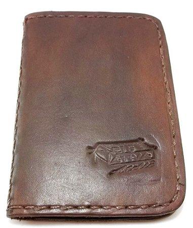 Carteira Porta Documentos em Couro Costura  á Mão