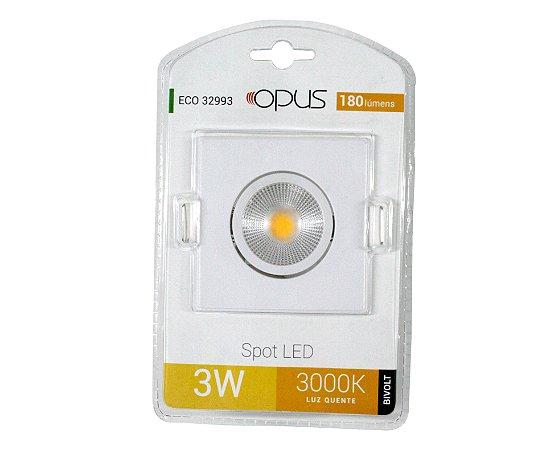 SPOT EMBUTIR LED QUADRADO  3W 3000K OPUS
