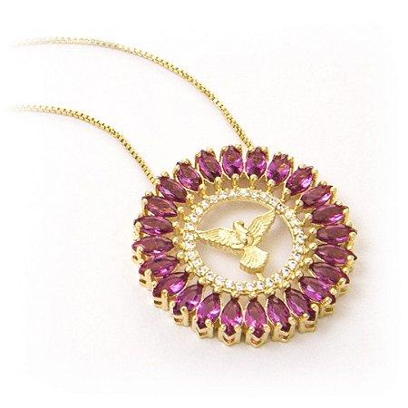 3a23da8f6aebc Colar Mandala Espírito Santo Zircônia rosa folheado a ouro 18k ...