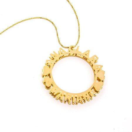 af42812c40935 Colar mandala com nomes personalizados folheado a ouro 18k ...