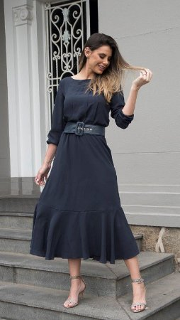 Vestido de Seda com Pregas Catarina