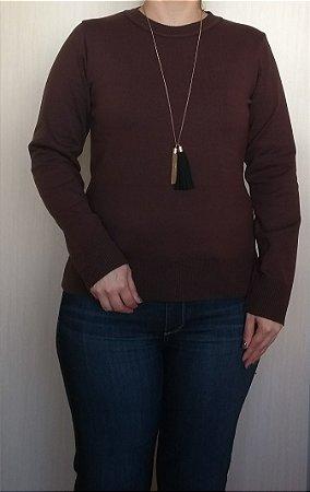 Blusa tricot marron com gola careca