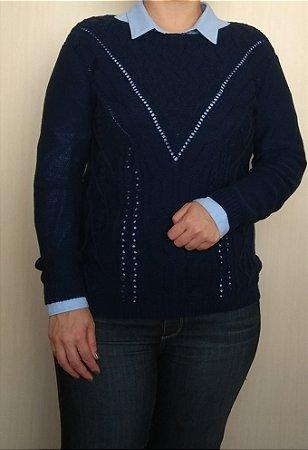 Blusa lã azul marinho