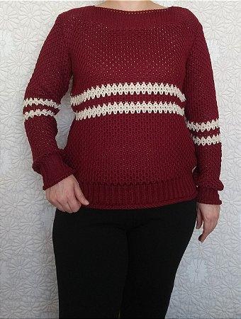 Blusa trico marsala com listra creme