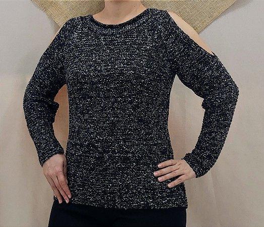 Trico preto mesclado com ombro vazado