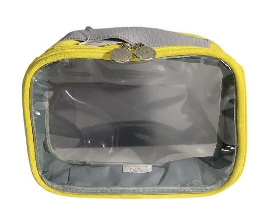 Necessaire Transparente P plush amarelo