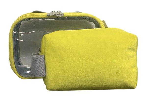Conjunto quadradinha + transparente P plush amarelo