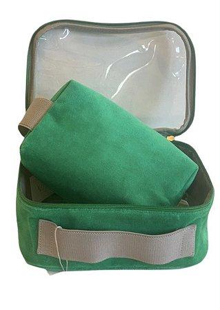 Conjunto quadradinha + transparente P plush verde