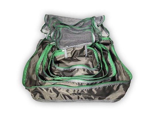 Kit nylon cinza com verde