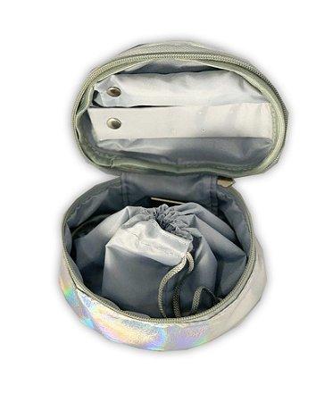 Porta Jóias Oval prata holográfico