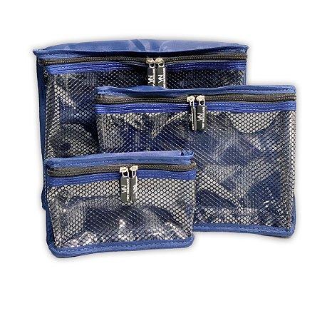Kit nylon plastificado Azul com preto