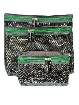 Kit nylon plastificado cinza com verde