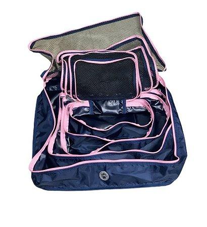 Kit nylon azul com rosa
