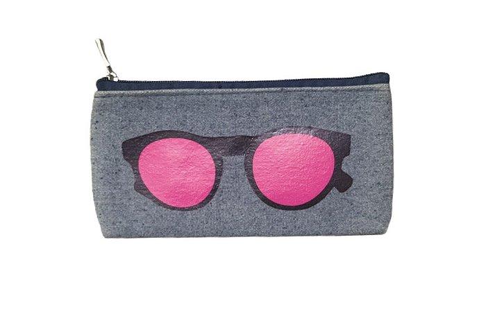 Porta óculos jeans com Silk pink