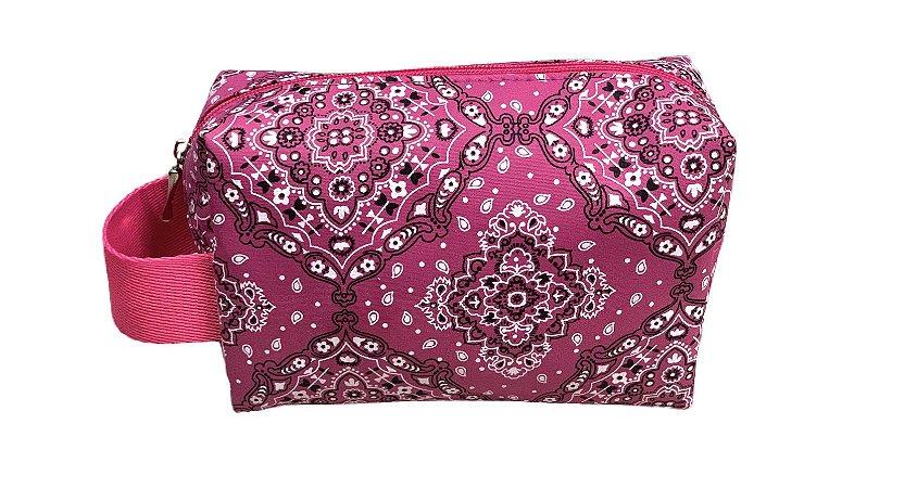 Necessaire Quadradinha bandana rosa com alça Pink