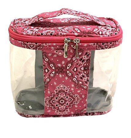 Baú P transparente bandana rosa