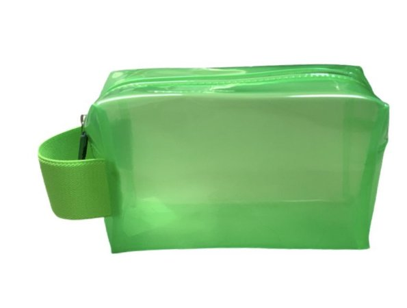 Necessaire Quadradinha cristal verde neon